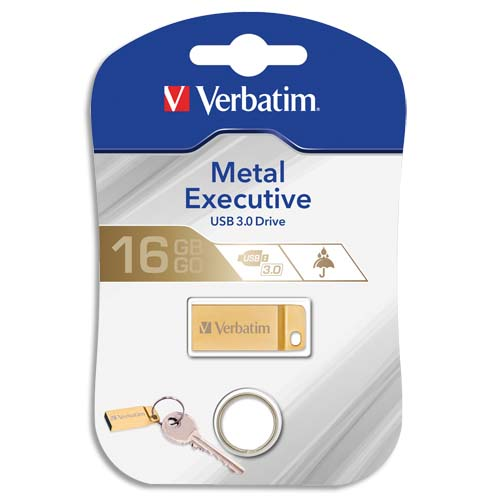 Code 155554, Désignation: VERBATIM Clé USB 3.0 Store'N'Go Mini Metal Executive Gold 16Go 99104 + redevance