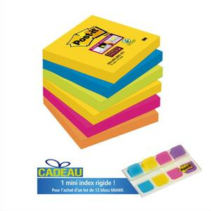 Code 382907, Désignation: POST-IT Lot de 12 blocs Super Sticky Rio 90 feuilles 76x76 mm 5 coloris + 1 mini index offert